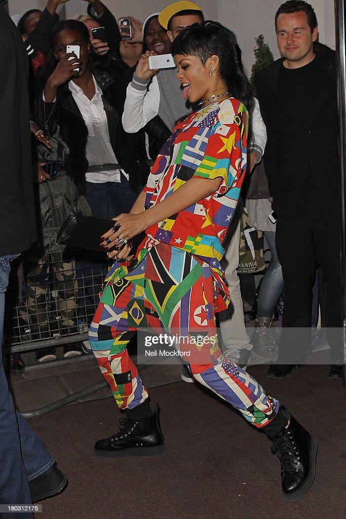 Rihanna seen leaving her hotel on September 11, 2013 in London, England.