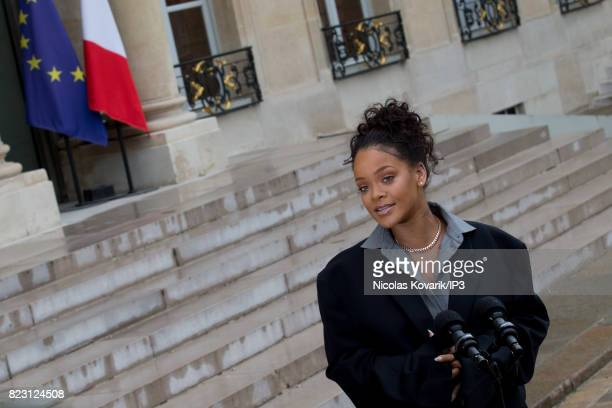 Rihanna Singer and Founder of Clara Lionel Foundation arrives to meet French President Emmanuel Macron at the Elysee Palace on July 26 2017 in Paris...