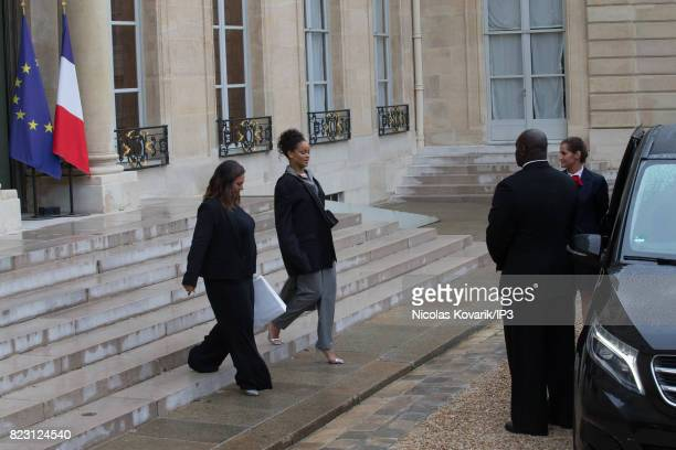 Rihanna Singer and Founder of Clara Lionel Foundation leaves after her meeting with French President Emmanuel Macron at the Elysee Palace on July 26...