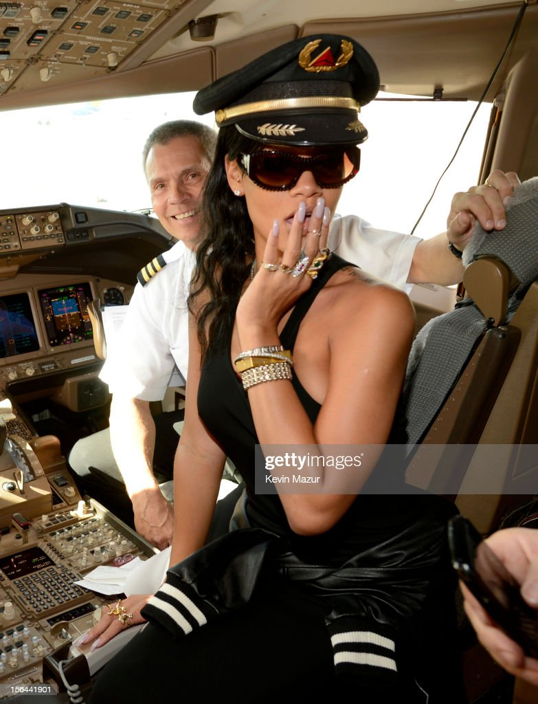 Rihanna sits in the cockpit of the plane before taking off to her first stop on the 777 tour on November 14, 2012. Rihanna's 777 Tour - 7 countries, 7 days, 7 shows in celebration of the November 19, 2012 release of 'Unapologetic.'