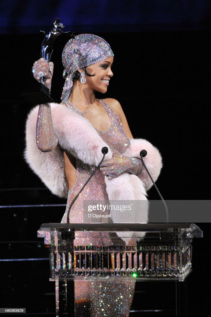 Rihanna speaks onstage at the 2014 CFDA fashion awards at Alice Tully Hall, Lincoln Center on June 2, 2014 in New York City.