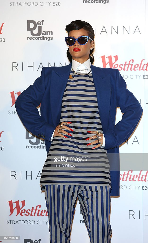 Rihanna switches on the Christmas Lights at Westfield Stratford City on November 19, 2012 in London, England.
