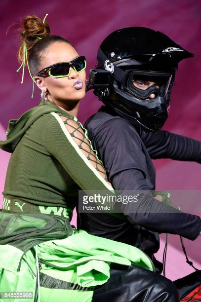 Rihanna walks the runway after the Fenty Puma By Rihanna fashion show during New York fashion week at Park Avenue Armory on September 10 2017 in New...