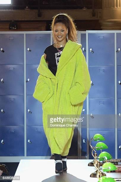 Rihanna walks the runway during the FENTY PUMA by Rihanna as part of the Paris Fashion Week Womenswear Fall/Winter 2017/2018 on March 6 2017 in Paris...