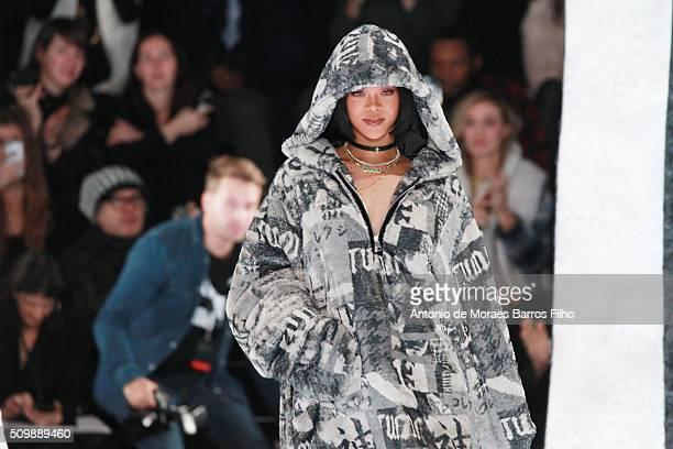 Rihanna walks the runway during the FENTY x PUMA by Rihanna show as a part of Fall 2016 New York Fashion Week at 23 Wall Street on February 12 2016...