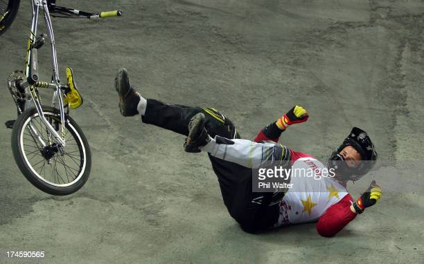 Rihards Veide of Latvia crashes out during day five of the UCI BMX World Championships at Vector Arena on July 28 2013 in Auckland New Zealand