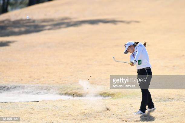 Riho Fujisaki of Japan hits her second shot on the 16th hole during the second round of the Yokohama Tire PRGR Ladies Cup at the Tosa Country Club on...