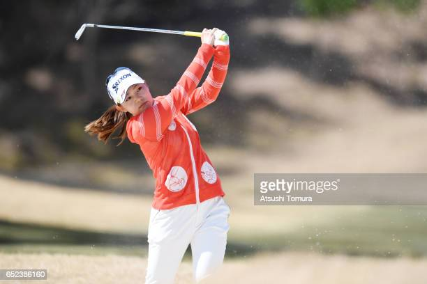 Riho Fujisaki of Japan hits her second shot on the 4th hole during the final round of the Yokohama Tire PRGR Ladies Cup at the Tosa Country Club on...
