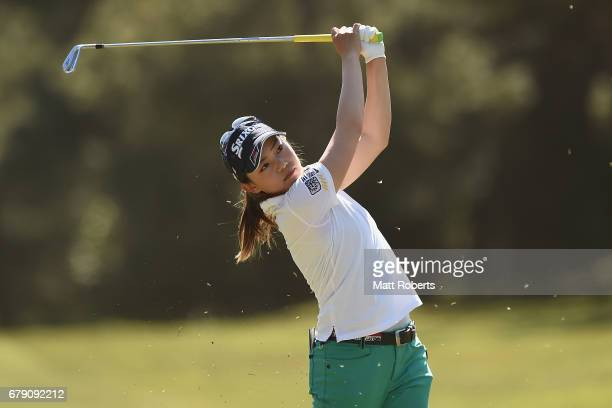 Riho Fujisaki of Japan hits her second shot on the 7th hole during the second round of the World Ladies Championship Salonpas Cup at the Ibaraki Golf...