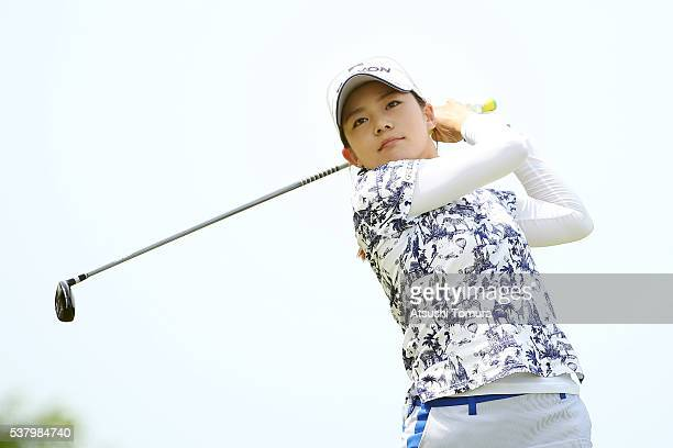 Riho Fujisaki of Japan hits her tee shot on the 14th hole during the second round of the Yonex Ladies Golf Tournament 2016 at the Yonex Country Club...