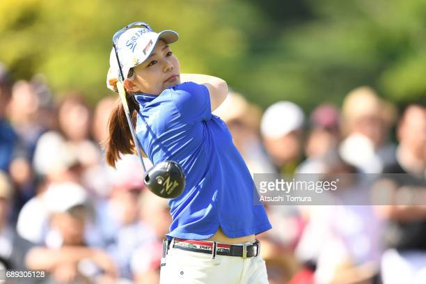 Riho Fujisaki of Japan hits her tee shot on the 1st hole during the final round of the Resorttrust Ladies at the Oakmont Golf Club on May 28 2017 in...