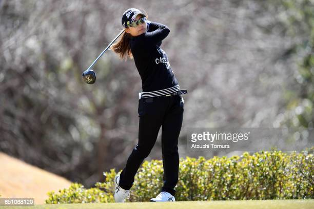 Riho Fujisaki of Japan hits her tee shot on the 3rd hole during the first round of the Yokohama Tire PRGR Ladies Cup at the Tosa Country Club on...