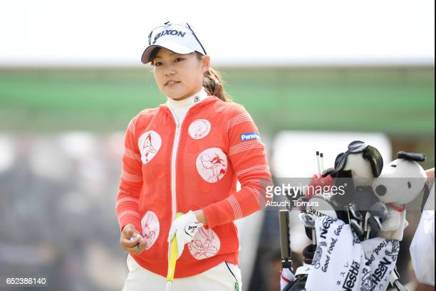 Riho Fujisaki of Japan looks on during the final round of the Yokohama Tire PRGR Ladies Cup at the Tosa Country Club on March 12 Konan Japan