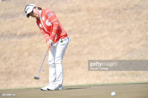 Riho Fujisaki of Japan putts on the 4th green during the final round of the Yokohama Tire PRGR Ladies Cup at the Tosa Country Club on March 12 Konan...