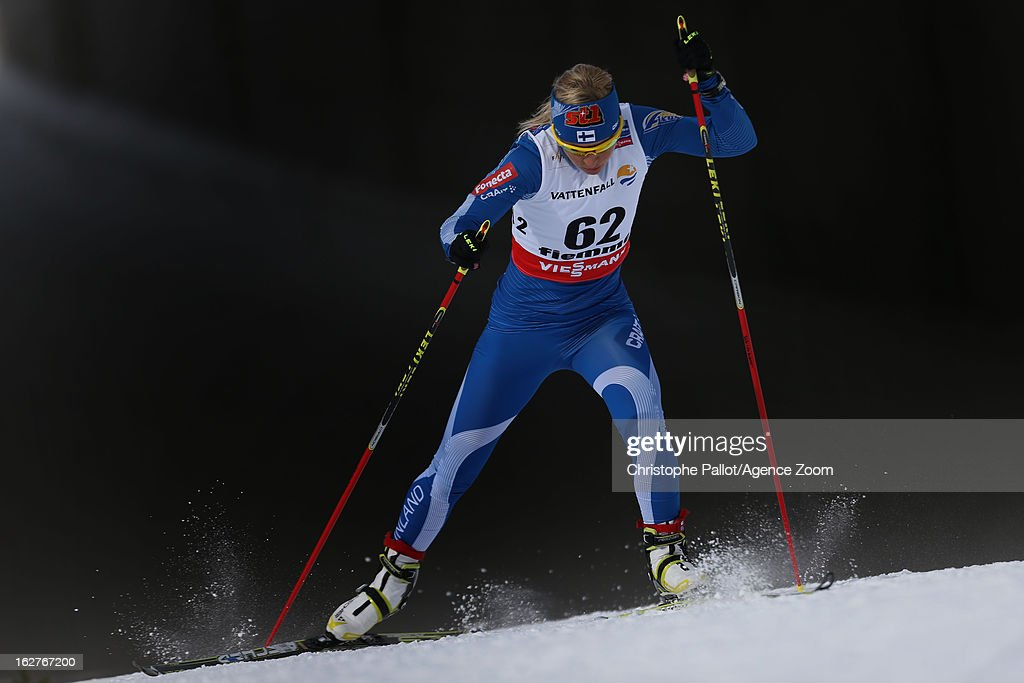 <a gi-track='captionPersonalityLinkClicked' href=/galleries/search?phrase=Riitta-Liisa+Roponen&family=editorial&specificpeople=4173513 ng-click='$event.stopPropagation()'>Riitta-Liisa Roponen</a> of Finland competes during the FIS Nordic World Ski Championships Cross Country Women's Distance on February 26, 2013 in Val di Fiemme, Italy.