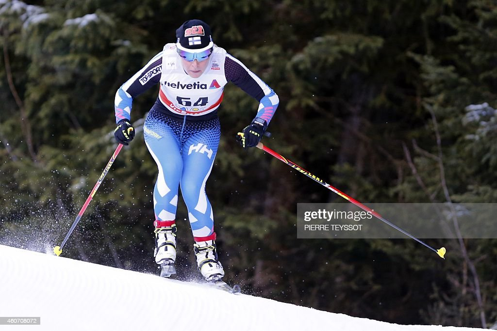 <a gi-track='captionPersonalityLinkClicked' href=/galleries/search?phrase=Riitta-Liisa+Roponen&family=editorial&specificpeople=4173513 ng-click='$event.stopPropagation()'>Riitta-Liisa Roponen</a> of Finland competes in the women's 10 km individual free event at the Nordic skiing FIS cross-country World Cup on December 20, 2014 in Davos.