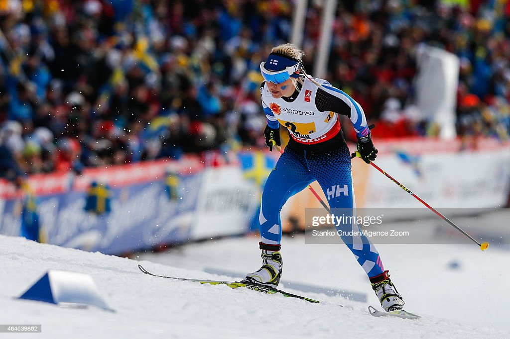 <a gi-track='captionPersonalityLinkClicked' href=/galleries/search?phrase=Riitta-Liisa+Roponen&family=editorial&specificpeople=4173513 ng-click='$event.stopPropagation()'>Riitta-Liisa Roponen</a> of Finland takes 3rd place during the FIS Nordic World Ski Championships Women's Cross-Country Relay on February 26, 2015 in Falun, Sweden.
