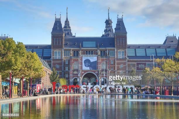 Rijksmuseum seen from Museumplein in Amsterdam, Netherlands