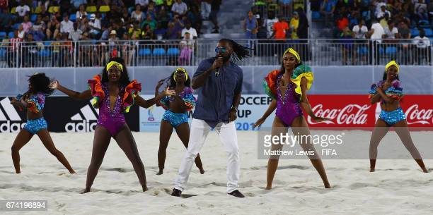 Rik Carey sings the Offical Anthem ahead of the FIFA Beach Soccer World Cup Bahamas 2017 group A match between Bahamas and Switzerland at National...