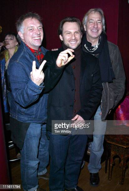 Rik Mayall Christian Slater and Alan Rickman during 'Churchill The Hollywood Years' Press Screening Inside Arrivals at Soho Hotel in London England...