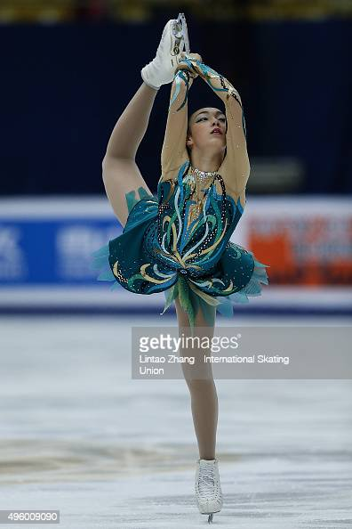 Rika Hongo of Japan perform during the Ladies Short Program on day one of Audi Cup of China ISU Grand Prix of Figure Skating 2015 at Beijing Capital...