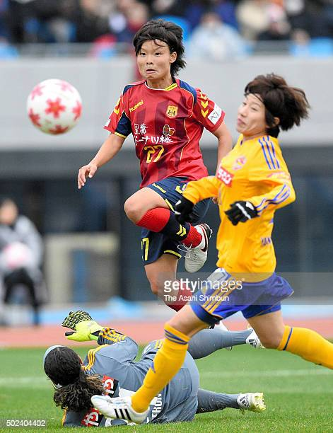 Rika Masuya of INAC Kobe Leonessa shoots at goal during the 37th Empress's Cup Semi Final match between Vegalta Sendai Ladies and INAC Kobe Leonessa...