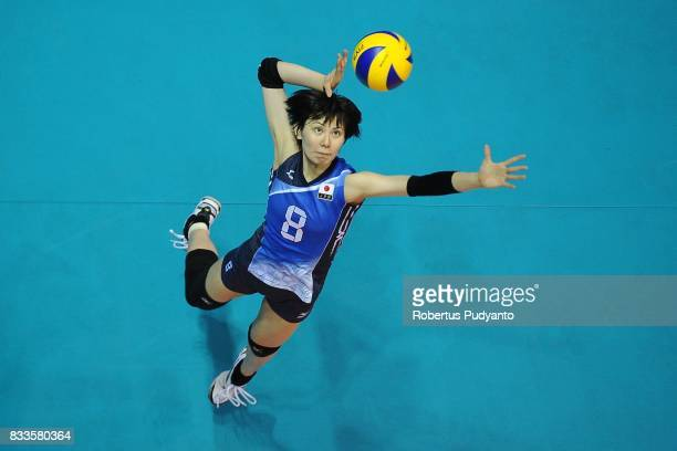 Rika Nomoto of Japan spikes during the 19th Asian Senior Women's Volleyball Championship 2017 Final match between Thailand and Japan at Alonte Sports...