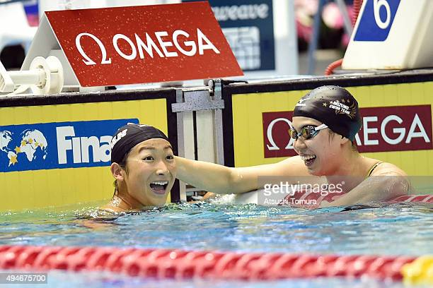Rikako Ikee of Japan celebrates after the Women's 100m Butterfly final during the FINA Swimming World Cup 2015 at Tokyo Tatsumi International...