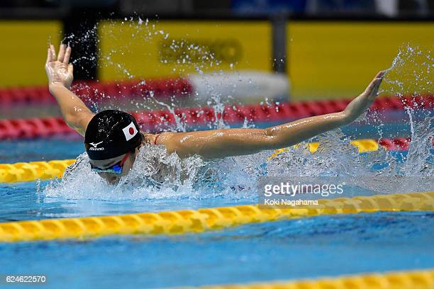 Rikako Ikee of Japan competes in 4x100m Medley Relay final during the 10th Asian Swimming Championships 2016 at the Tokyo Tatsumi International...