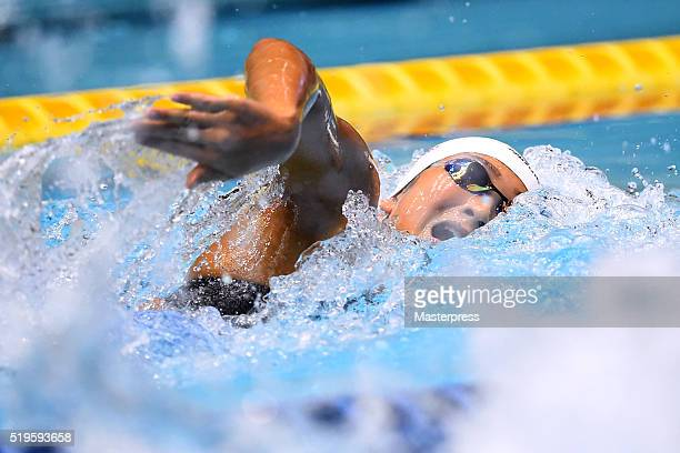 Rikako Ikee of Japan competes in the Women's 100m Freestyle semi finals during the Japan Swim 2016 at Tokyo Tatsumi International Swimming Pool on...
