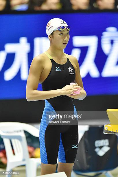 Rikako Ikee of Japan looks on during the Japan Swim 2016 at Tokyo Tatsumi International Swimming Pool on April 5 2016 in Tokyo Japan