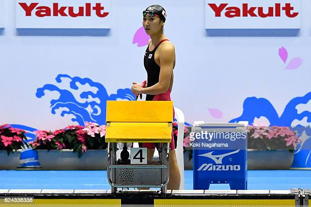 Rikako Ikee of Japan looks on prior to the Women's 100m butterfly final during the 10th Asian Swimming Championships 2016 at the Tokyo Tatsumi...