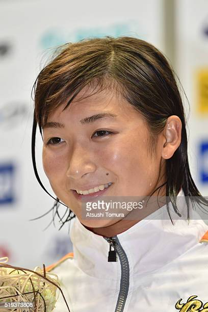 Rikako Ikee of Japan poses on the podium after the Women's 200m Freestyle final during the Japan Swim 2016 at Tokyo Tatsumi International Swimming...
