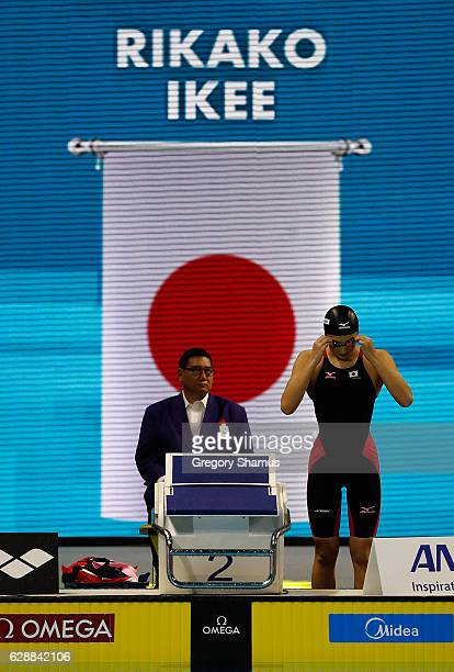Rikako Ikee of Japan prepares for the 50m Butterfly final on day four of the 13th FINA World Swimming Championships at the WFCU Centre on December 9...