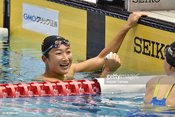 Rikako Ikee of Japan smiles after the Women's 100m Butterfly preliminaries during the Japan Swim 2016 day 1 at Tokyo Tatsumi International Swimming...