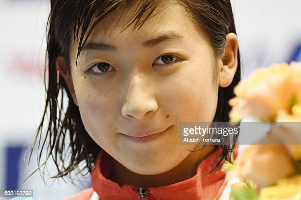 Rikako Ikee of Japan smiles during the Japan Open 2016 at Tokyo Tatsumi International Swimming Pool on May 21 2016 in Tokyo Japan