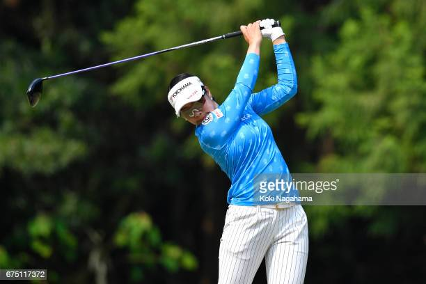 Rikako Morita hits her tee shot on the second hole during the final round of the KCFG Ladies Golf Tournament at the Chiba Country Club at Takeo Golf...