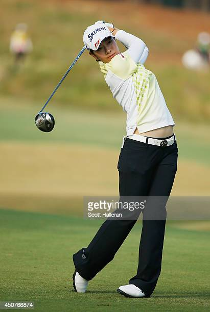 Rikako Morita of Japan hits a shot during a practice round prior to the start of the 69th US Women's Open at Pinehurst Resort Country Club Course No...