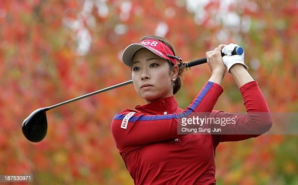 Rikako Morita of Japan hits a tee shot during the final round of the Mizuno Classic at Kintetsu Kashikojima Country Club on November 10 2013 in Shima...