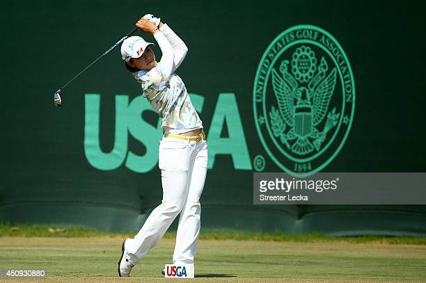 Rikako Morita of Japan hits a tee shot on the first hole during the second round of the 69th US Women's Open at Pinehurst Resort Country Club Course...