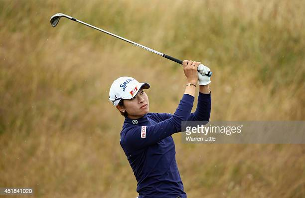 Rikako Morita of Japan hits an approach during the ProAm round prior to the Ricoh Women's British Open at Royal Birkdale on July 8 2014 in Southport...