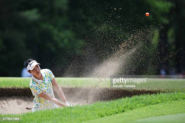 Rikako Morita of Japan hits from a bunker on the 11th hole during the second round of the Nichirei Ladies at the Sodegaura Country Club Shinsode...