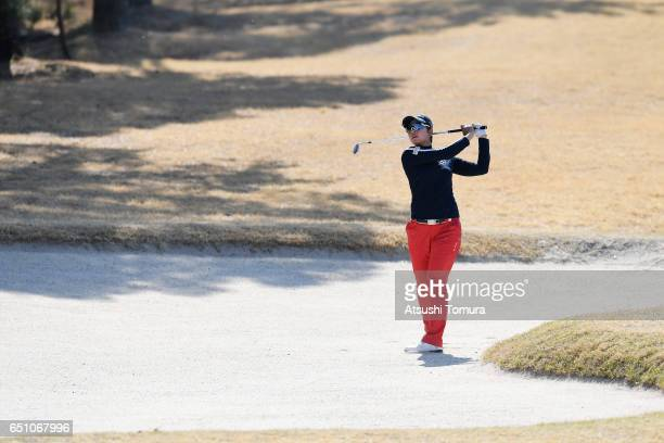 Rikako Morita of Japan hits from a bunker on the 16th hole during the first round of the Yokohama Tire PRGR Ladies Cup at the Tosa Country Club on...