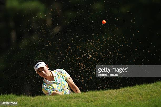 Rikako Morita of Japan hits from a bunker on the 1st hole during the second round of the Nichirei Ladies at the Sodegaura Country Club Shinsode...