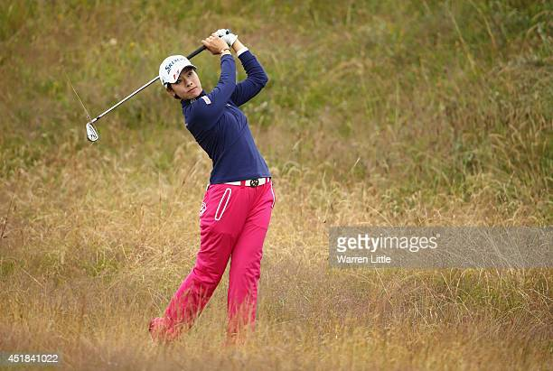 Rikako Morita of Japan hits from the rough during the ProAm round prior to the Ricoh Women's British Open at Royal Birkdale on July 8 2014 in...