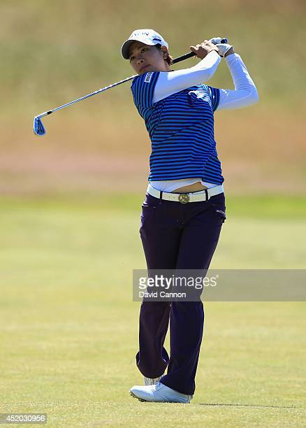 Rikako Morita of Japan hits her 2nd shot on the 13th hole during the second round of the Ricoh Women's British Open at Royal Birkdale on July 11 2014...