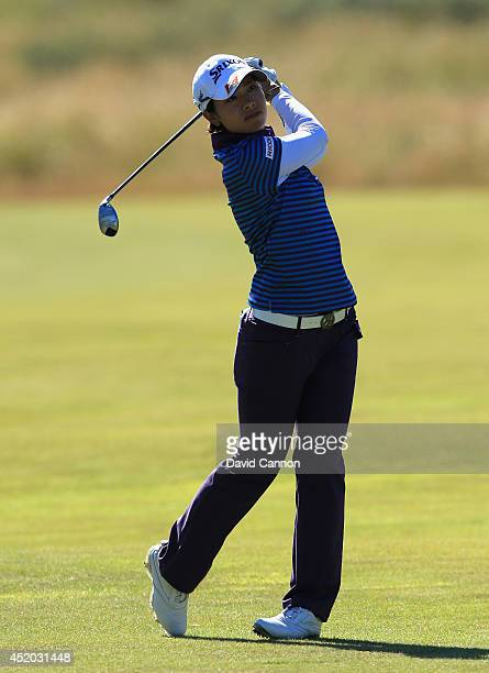 Rikako Morita of Japan hits her 2nd shot on the 17th hole during the second round of the Ricoh Women's British Open at Royal Birkdale on July 11 2014...