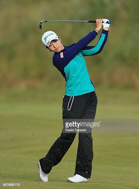 Rikako Morita of Japan hits her 2nd shot on the 3rd hole during the first round of the Ricoh Women's British Open at Royal Birkdale on July 10 2014...