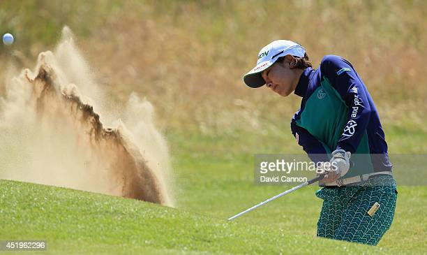 Rikako Morita of Japan hits her 3rd shot on the 18th hole during the first round of the Ricoh Women's British Open at Royal Birkdale on July 10 2014...