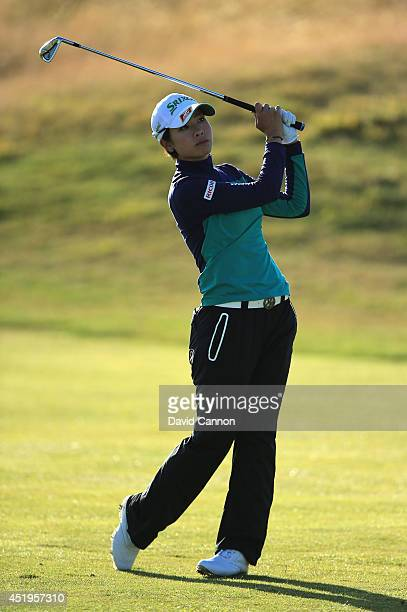 Rikako Morita of Japan hits her 3rd shot on the 2nd hole during the first round of the Ricoh Women's British Open at Royal Birkdale on July 10 2014...